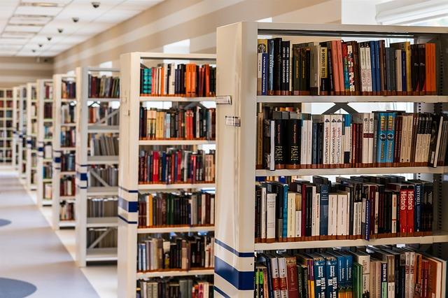 regály v knihovně